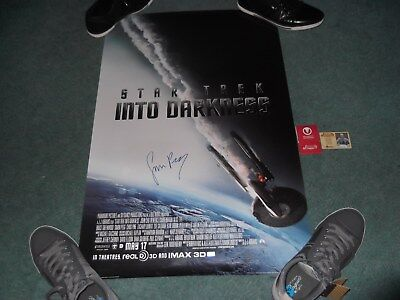 Rare Signed Autograph 24X36 Poster Star Trek into Darkness Simon Pegg Scotty