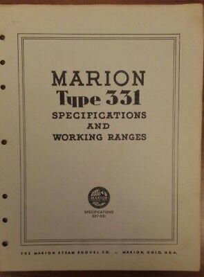 Marion Type 331 Specifications and Working Ranges Brochure - No Date