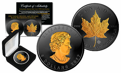 2018 Black Ruthenium & 24K Gold Gilded 1 Troy Oz Silver CANADIAN MAPLE LEAF Coin