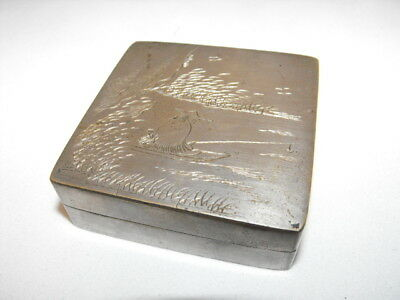 Antique Silver Plate Match Box Stone Striker Plate Flint Fishing Engrave Holder