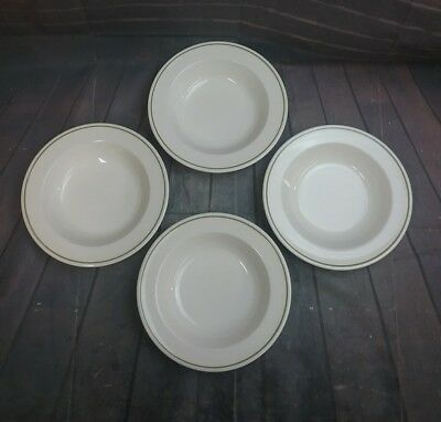 4 Vintage Anchor Hocking USA Soup Cereal Bowls~ Cream colored  with Green Bands