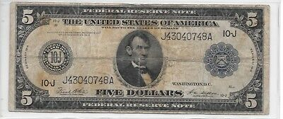 1914 Large Size $5 Five Dollar Federal Reserve Note LINCOLN Blue Seal VG/F