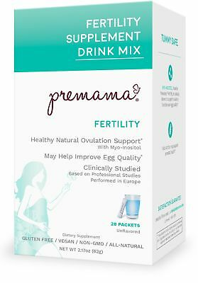 Premama Fertility Reproductive Powdered Drink Supplement, 28 Count, NEW