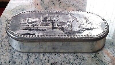 Vintage Towersey London Embossed Scene Oval Biscuit Tin