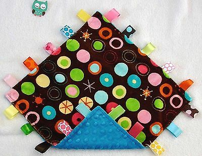 New Double Minky Bright Dots Minky & Blue Minky Taggie Tag Security Blanket Baby
