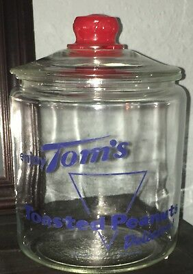Vintage Authentic 1940's Tom's Roasted Peanuts Store Counter Display Jar w/ Lid