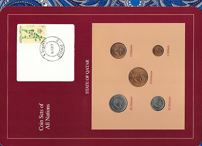 Coin Sets of All Nations Qatar 1973-1990 UNC 25,50 Dirhams 1990 Flower stamp