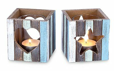 Set of Two Tealight Holder Wind Light Wooden Heart Star 8x7, 5cm with Glass