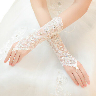 Premium Lace Floral Rhinestone & Sequin Fingerless Wedding Party Bridal Gloves