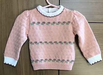 Vintage Toddler Baby Girl Sweater Pink Flowers Cute Doll