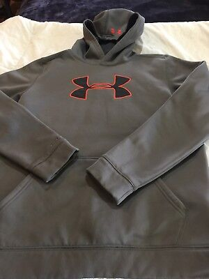 Boys Under Armour Hoodie Sweatshirt Size Youth XL Gray Green Loose EUC