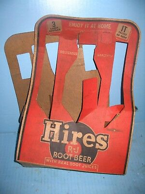 Hires Root Beer RARE 3 Large Bottle Cardboard Carrier EARLY RARE and Unusual