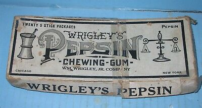 Wrigleys Pepsin Chewing Gum Box UNUSUAL EARLY Box Possibly 1st Edition Ever ??