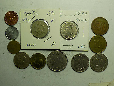 South Korea 12 Coin Set  (L10)