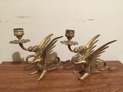 Pair Of Antique Or Vintage Brass Griffin Dragon Candlestick Holders