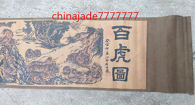 Chinese Ancient picture silk paper 100 Tigers Scroll painting