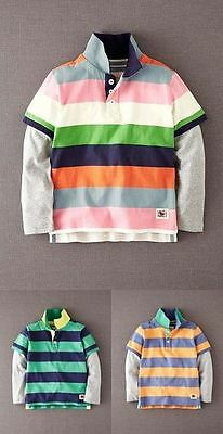 Boden Boys Long Sleeved Layered Polo T Shirt 3 Colours Ages 1-12 Bnwot