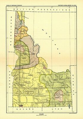 1896 map Idaho United States Indian land cessions POSTER 16