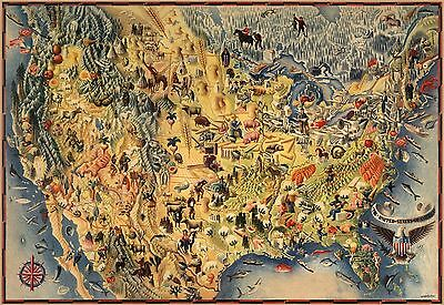 1942 pictorial map United States mountains fishes flowers animals POSTER 8243000