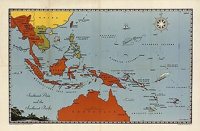 Southeast Asia and the Southwest Pacific 1944 pictorial map WW2 POSTER 8902000