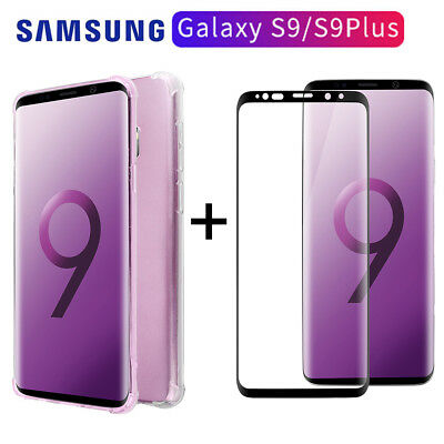 Tempered Glass Screen Protector+Soft TPU Clear Case fr Samsung Galaxy S9/S9 Plus
