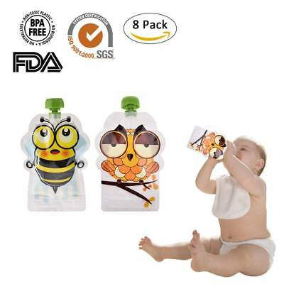8 Pack 150ml Squeeze Pouches Refillable Baby Food Pouch Great For Snacks Drinks