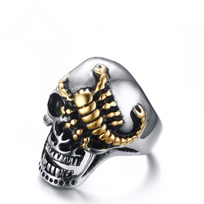 Fashion Mens Gold Scorpion Skull Size 8 to 12 Stainless Steel Punk Cool Rings