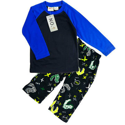 New Boys Winter Pyjamas PJs Sleepwear Long Sleeved Blue Dinosaur Fleece Size 1-4