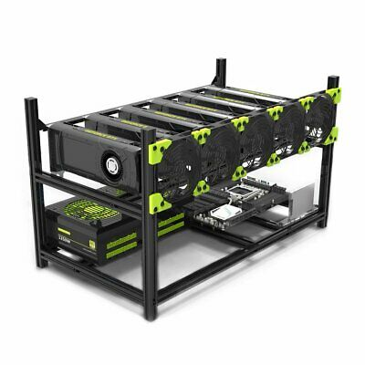 6 GPU Miner Case Aluminum Stackable Mining Case Rig Open Air Frame without fans