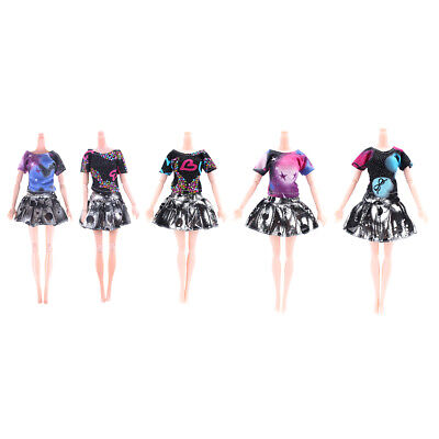 2Pcs/Set Handmade Fashion Clothes Dress For Barbie Doll Gift Color Random JR