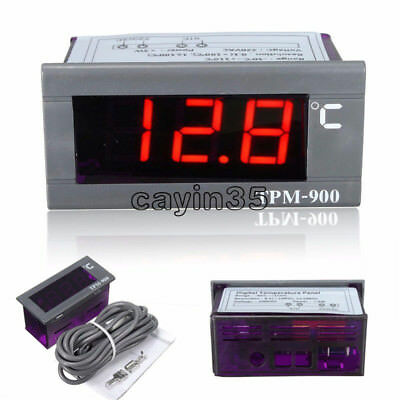 TPM-900 220V Digital Temperature Controller LED Panel Meter with Sensor UK