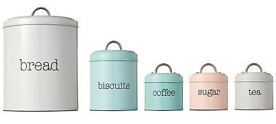 Set of 5 Pastel Canisters Bread Bin Biscuit Jar Pink Grey Blue