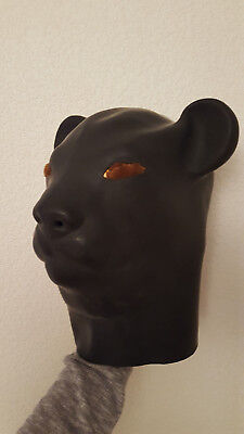 Latex katzenmaske  Black Cat Mask Full Head Gum Hood Animals Stag Night Gimp