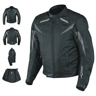 Motorcycle Jacket CE Armored Textile Motorbike Racing Thermal Liner Black
