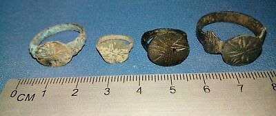 Lot of Four Post Medieval bronze Ring 16-17th century.