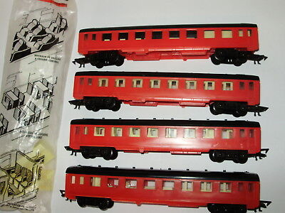 4 x Jouef Passenger cars. Good condition. Basic quality. HO Scale. No box