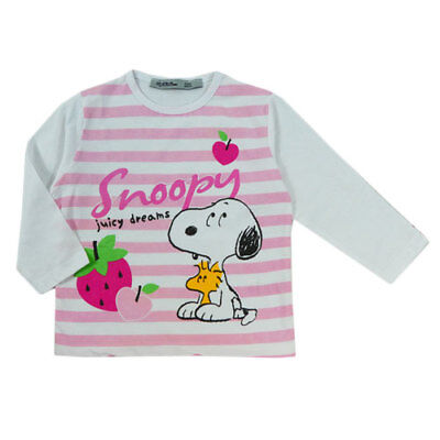 New Girls Snoopy Peanuts Pink White Stripe Long Sleeved T Shirt Top Age 2-5 Yrs