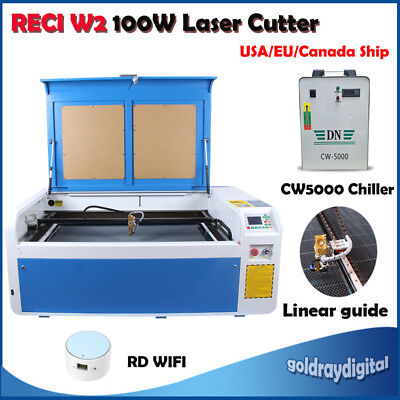 RECI 100W CO2 Laser Engraving Machine Engraver & Terminal RD-WIFI Linear Guides
