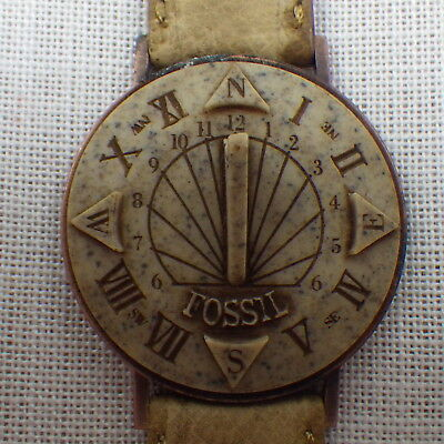 Early Fossil Sundial Non Movement Unisex Wristwatch SD-1 Camel Band