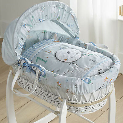 New Clair De Lune Blue Forty Winks Padded White Wicker Baby Boys Moses Basket