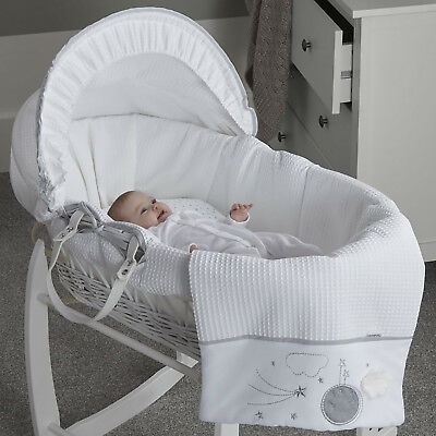 New Clair De Lune Grey Over The Moon Padded White Wicker Baby Moses Basket