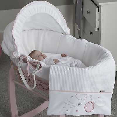 New Clair De Lune Pink Over The Moon Padded Pink Wicker Baby Girls Moses Basket
