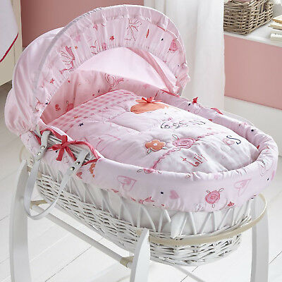 New Clair De Lune Pink Tippy Toes Padded White Wicker Baby Girls Moses Basket