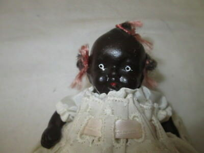 Small Vintage Black Americana Strung Jointed Baby Doll Bisque Made in Japan