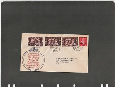 MOROCCO AGENCIES TANGIER  - FDC cover K. GeorgeVI Coronation issue1937