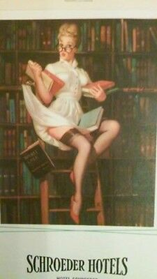 1964 Schroeder Hotels Calendar Pin Up Advertising Librarian Library Pin Up