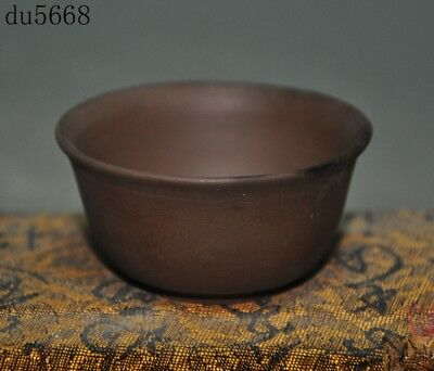 Marked Chinese China Yixing Zisha pottery Hand carved kung fu tea Water cup bowl