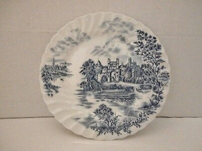 """Old Rare Johnson Brothers England Ancient Towers Scenes Plate Blue and White 8"""""""