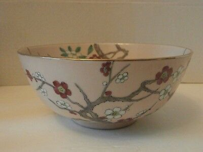 """Vintage Heavy Hand Painted Chinese Ceramic Porcelain Pink Floral8"""" Bowl"""