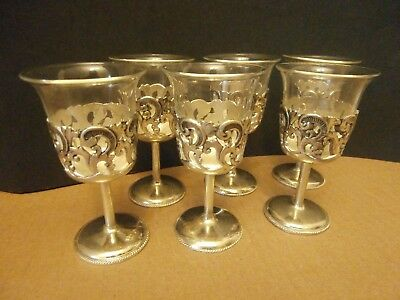 Vintage Set Of 6 Silver Plated? & Glass Cup Inserts Cordial Glasses